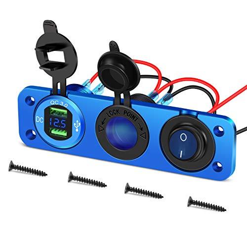 Presa USB per auto in lega di alluminio Presa di ricarica doppia USB da 12V 36W Voltmetro LED Presa accendisigari impermeabile Interruttore a levetta ON/OFF per moto marine 12V/24V(Blu)
