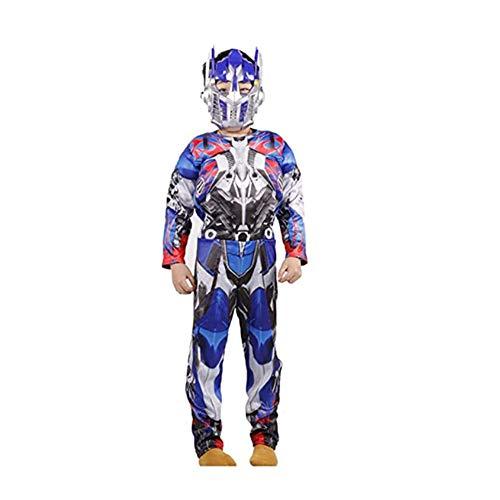 FINDPITAYA Kostüm Transformers Halloween Weihnachten Kinder Optimus Prime Muscle Cosplay mit Maske Blau (120-130)