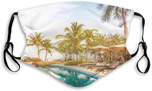 Resistente al viento, vista aérea de una piscina en un hotel spa de salud con elementos exóticos foto moderna deportiva, decoraciones faciales impresas para adultos y niños, M