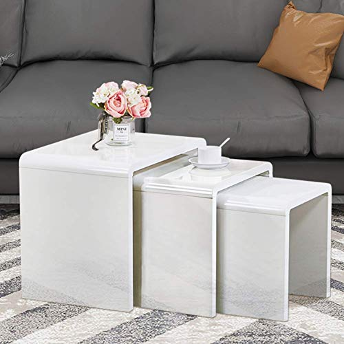 GOLDFAN Nest of 3 tables High Gloss Coffee Table Set Nesting Sofa Table Multi-functional End Side Table for Living Room, White