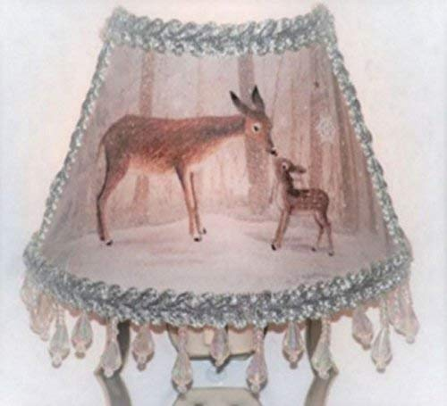 Woodland Deer Winter Night Light Snow Forest Animals with Icicle Clear Beaded Fringe