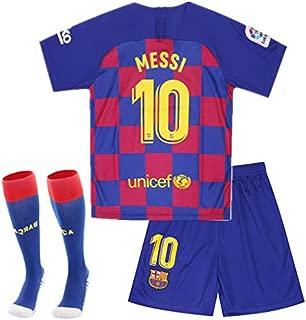 BADAWO 2019-2020 Barcelona #10 Messi T Shirt Home Kids Youth Soccer Jersey Shorts Socks Red/Blue