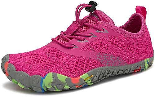 SAGUARO Barefoot Zapatillas de Trail Running Niños Niñas Minimalistas Zapatos de Deporte Antideslizantes Calzado Descalzos para Fitness Caminar Correr en Asfalto Montaña Senderismo Agua, Rosa, 24 EU