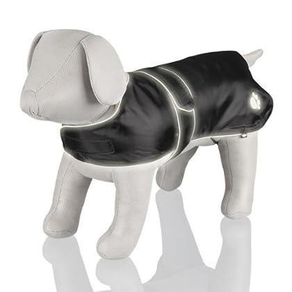 Mit weichem Fleecefutter Reflektierende Paspeln und Pfotenmotiv Beinschlaufen für die Hinterläufe Mit Klettverschluss Aus strapazierfähigem Nylon Farbe: schwarz