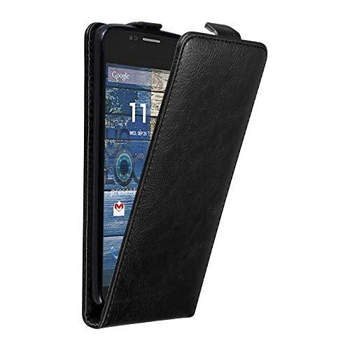 Cadorabo Hülle für Motorola Moto G2 in Nacht SCHWARZ - Handyhülle im Flip Design mit Magnetverschluss - Case Cover Schutzhülle Etui Tasche Book Klapp Style