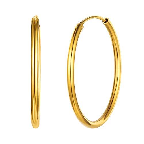 30mm Pendientes Redondos Plata de Ley de Mujeres Aros Antialérgicos Oro Amarillo Aretes Círculos Medios Accesorios Modernos Orejas Regalo Cumpleaños