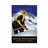 Vintage-Reise-Poster aus Leinwand, Motiv: Garmisch