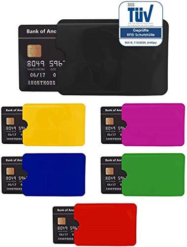RFID Schutzhüllen, TÜV-geprüft, NFC Blocker Kreditkarte, EC Karte Funk-Abschirmung - 6er Pack bunt, schwarz, pink, gelb, blau, rot u. grün …