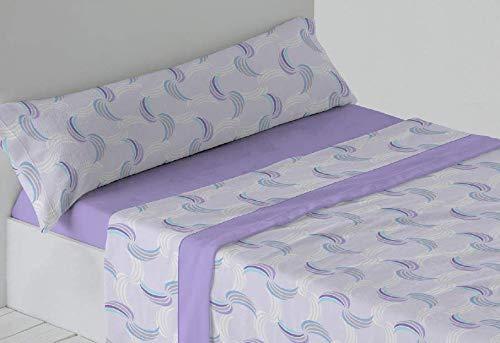 Trovador. Juego de sábanas de coralina. Cama de 200x200. Modelo Aura. Color Malva. 4 Piezas.