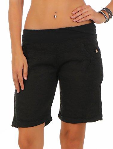 Malito Damen Bermuda aus Leinen | lässige Kurze Hose | Shorts für den Strand | Pants - Hotpants 3001 (schwarz, XXL)