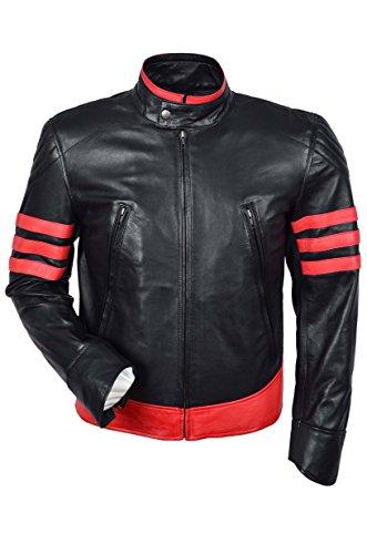 Smart Range Chaqueta DE Piel para Hombre X-Men, Color Negro Y Rojo, Piel DE Cordero (XL)