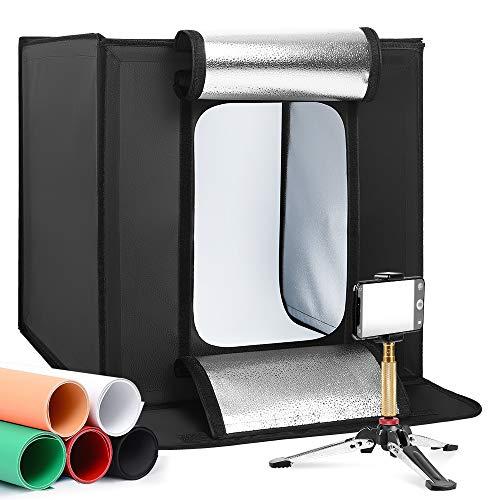 LOMTAP 撮影ボックス60*60*60cm 撮影ボックス 撮影キットプロスタジオ 背景スクリーン 5色 調整可能な明るさ5500K 連続照明LEDライトポータブル折りたたみ 携帯型 組立簡単 収納便利