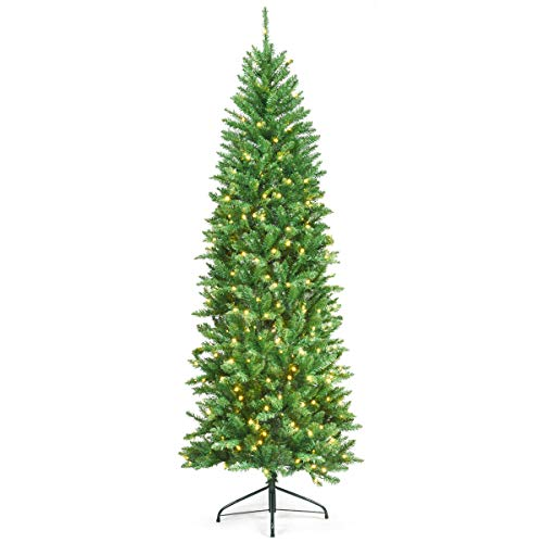 Goplus 7ft Pre-lit Artificial Christmas Tree, Hinged Fir Pencil Christmas Tree with Lights, Perfect Xmas Decoration for Indoor and Outdoor