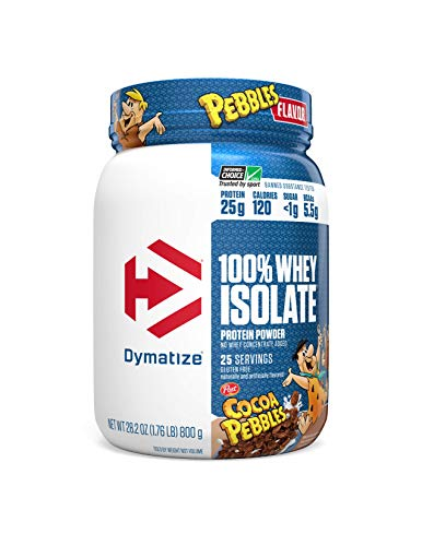 Dymatize 100 Whey Isolate Protein Powder 25 Servings, Cocoa Pebbles, 28.2 Ounce