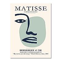 マティス抽象顔壁アートキャンバス絵画、北欧のポスターとプリント、フレームレス装飾キャンバス絵画 A3 30x40cm