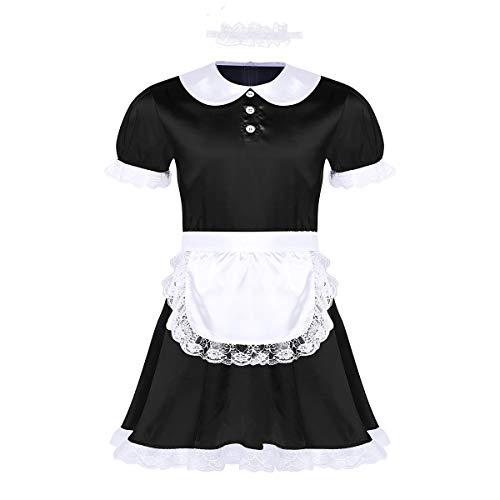 inhzoy Herren Sissy Kleider Dienstmädchen Kostüm Outfit Männer Dessous-Crossdresser Nachtkleid Maid Kostüm Cosplay Satin Reizwäsche Schwarz_A 2X-Large