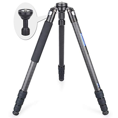 Carbon Fiber Tripod, Heavy Duty Bowl Tripod AS80C Ultra Stable & Lightweight Professional Camera Travel Tripod, Max Load 44lbs/20kg,65mm Bowl Adapter as a Gift