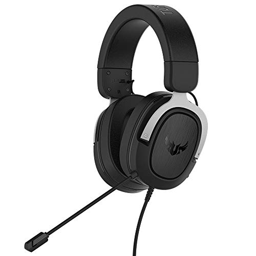 ASUS TUF Gaming H3 - Auriculares Compatibles con PC, Mac, PS4, Nintendo Switch, Xbox One y teléfonos móviles, con sonido envolvente 7.1, graves potentes, altavoces Asus Essence, Plata