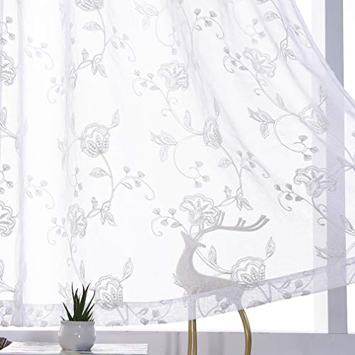 """Sheer Curtains White 45 Inches Long Floral Embroidery Rod Pocket Voile Drapes for Living room, Bedroom, Window Treatments Semi Lace Outdoor Curtain Panels for Yard, Kitchen, Villa, Set of 2, 52""""x 45""""."""