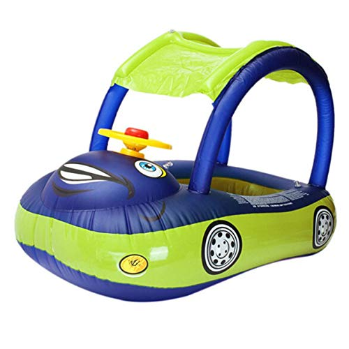 Timetided Sombrilla de cartón Flotador de Agua para bebé Asiento de PVC Barco con Dosel Anillo de natación Inflable para niños pequeños con Volante - Azul Oscuro y Verde