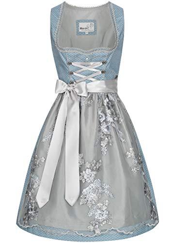 MarJo Trachten Damen Trachten-Mode Midi Dirndl Farina in Hellblau traditionell, Größe:32, Farbe:Hellblau