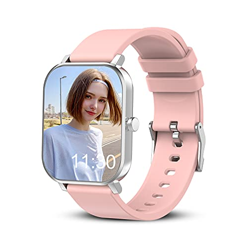 """Smart Watch for Android Phones Compatible with iPhone Samsung, 1.69"""" Full Touch Screen Smartwatch with Heart Rate Monitor, Sleep Tracker, Message Call Reminder, Stopwatch, Fitness Tracker for Women"""