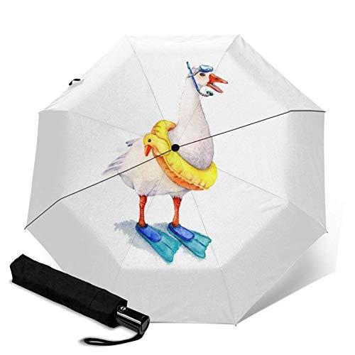 Gedruckter dreifacher Regenschirm Schnorchel-Gans, Reisen, Faltbar, dreifach faltbar, automatisch, geeignet für Sonne und Regen