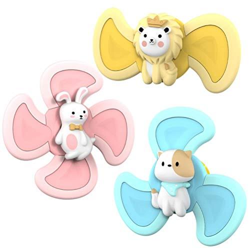 spier Juguete giratorio con ventosa superior, 3 piezas de juguetes de baño de animales lindos, juguetes sensoriales para bebés y niñas