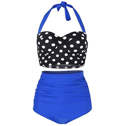Fenverk Damen Retro Stil Polka-Punkt mit Hoher Taille Badeanzug Bikini Set,Damen Niedlich Ruffles Strap Badeanzug Crop Top Flounce Bikini(C#Blau,M)