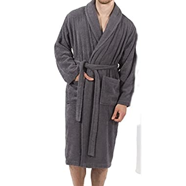 HomeLabels Terry Bathrobe - One Size Fits All - Shawl Collar Ultra-Soft Spa Robe - Absorbent, Durable and Comfortable - Charcoal - by