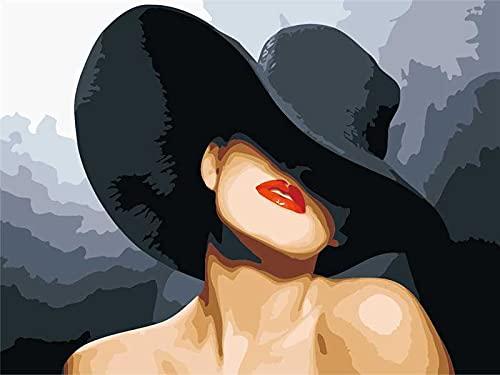 Xofjje Pintar por Numeros_Retrato de Mujer fac_Adultos Niños DIY Pintura por Números_con Pinceles y Pinturas_40x50cm_Sin Marco