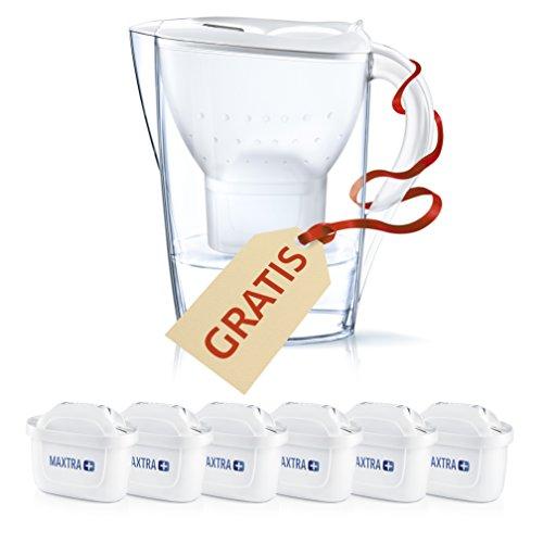 BRITA Filtros Agua MAXTRA+ Pack 6 + Jarra Marella, Blanca y Transparente, Unica