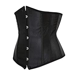 Kelvry Women's Satin Waist Cincher Lace up Boned Bustier Underbust Corset, Black, 8-10 UK #1