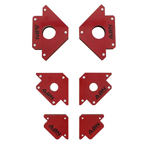 ABN Arrow Welding Magnet Set – 6 Pack of 25, 50, and 75 Lb Magnets for Metal Working, 45, 90, 135 Degree Angle Magnet