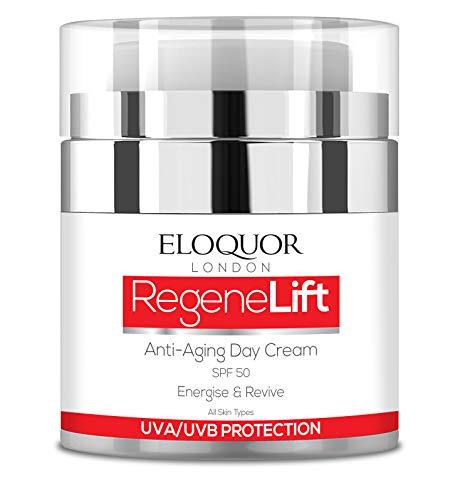 Eloquor RegeneLift crema de día antiedad con SPF | Crema hidratante facial con retinol, ácido hialurónico y vitaminas para arrugas, líneas finas y piel sensible | Natural, orgánico y libre de crueldad