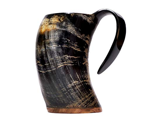 Brillibrum Taza, cuerno de vaca auténtico, pulido, con asa, vikingo, vaso de cuerno de cerveza, jarra medieval, taza de cuerno de vaca (500 ml)