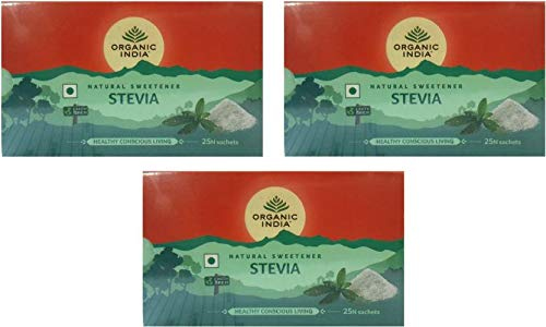 Organic India Natural Sweetener Stevia 25N Sachets 75g(Pack of 3)