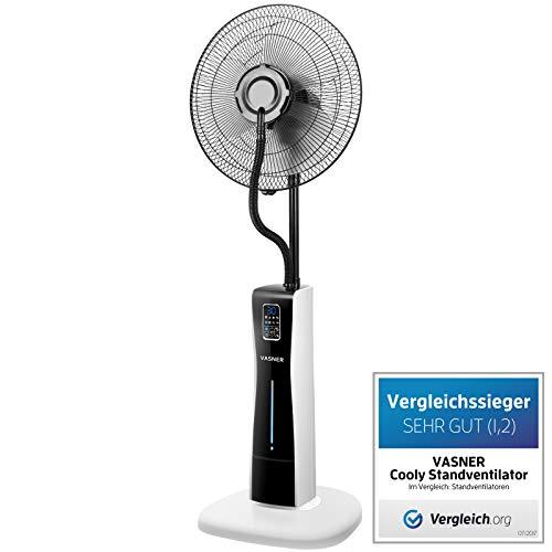 VASNER Standventilator mit Wasserkühlung, Cooly, Wasser Sprühnebel, inkl. Fernbedienung, Timer, Luftbefeuchter, leise, Nebelfunktion (Weiß)
