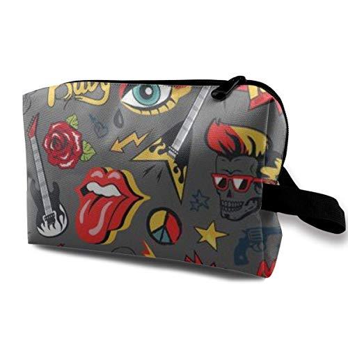 Makeup Bag Cosmetic Pouch Rock Elements Guitar Loudspeakers Tongue Horned Fingers Multi Functional Bag Travel Kit STO.
