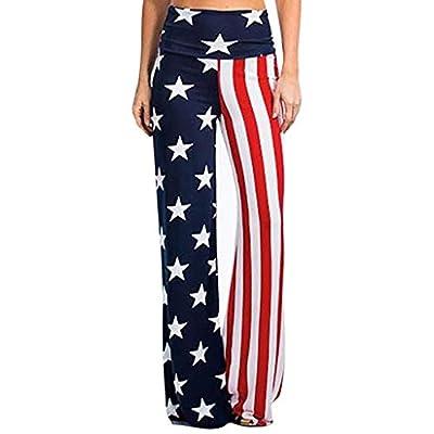 Womens Fold Over Waist Wide Leg Palazzo Pants Independence Day USA Flag Print