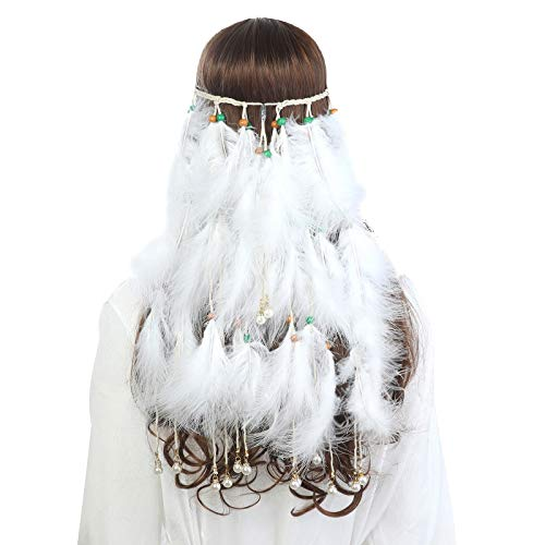 Hippie Headband Feather Dreamcatcher Headdress - AWAYTR Boho Headwear Native American Headpiece Hippie Clothes Peacock Feather Hair Accessories (White+pearl)