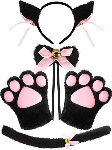 SATINIOR Juego de 5 Piezas Trajes de Disfraces de Gato Guantes de Patas Collar de Orejas Cola de Gatito de Anime Lolita Gótico para Mujer Niña Halloween Disfraces (Negro y Rosa)