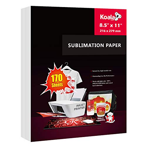 Koala 170 sheets Sublimation Paper 8.5x11 for Heat Transfer DIY gift compatible with Inkjet Printer with Sublimation Ink