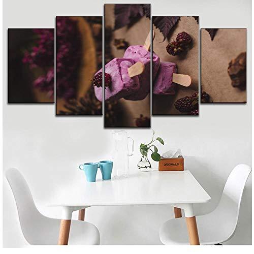 XXSCZ 5 Canvas Schilderijen Ingelijst 5 Stuk Canvas Schilderij Fruit Fruit Raspberry Ijs Type Poster Modulaire Afbeeldingen Moderne Zoete Shop Decoratieve Muur Artwork 20x35 20x45 20x55cm Met Frame