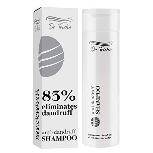 Dr Tricho Anti-Schuppen Shampoo | 200 ml | Lindert Juckreiz und Reizung der Kopfhaut & Reduziert Haarausfall | Enthält Natürliche Wirkstoffe: Vitamin E, Piroctone Olamine & Aloe Saft