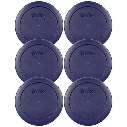 Pyrex Cubierta redonda de almacenamiento de 2 tazas #7200-PC para cuencos de vidrio (6, azul)