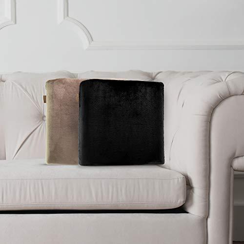 MemoThrow Throw Pillow, Comfy Couch Pillow, Memory Foam Throw Sofa Couch Pillow, Comfortable Throw Pillow, Contour Memory Foam, Luxurious Faux Fur Flannel Cover, Gift for Men, Women, Grandparents
