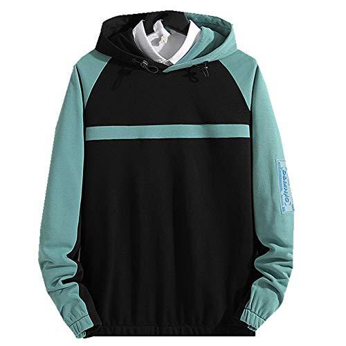 NOBRAND - Jersey con capucha para hombre, estilo otoñal, versión coreana, holgado, casual, manga larga, con capucha, tendencia Negro y verde. XXXXXXXXL