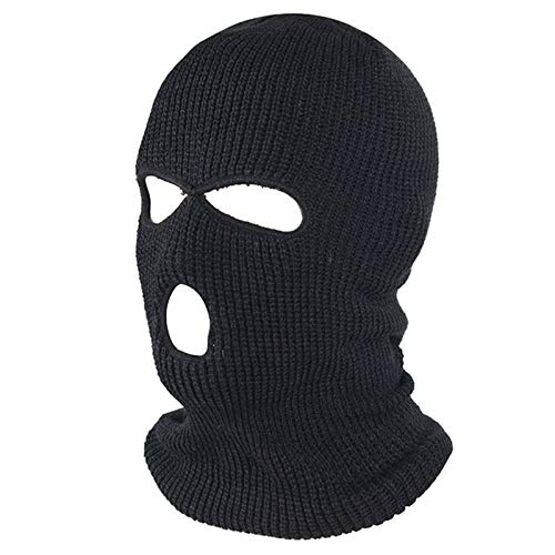 FLYMOON 3 Hole Winter Knitted Mask, Outdoor Sports Full Face Cover Ski Mask Warm Knit Balaclava for Adult Black