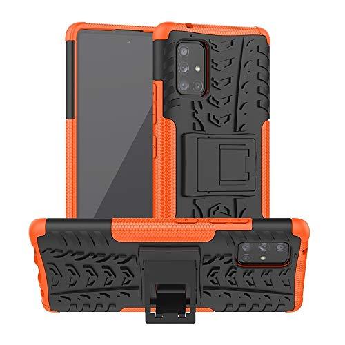 Zhangli Fundas LG For la Caja Protectora Samsung Galaxy A71 5G Textura del neumático a Prueba de Golpes de TPU PC con el sostenedor Fundas LG (Color : Naranja)